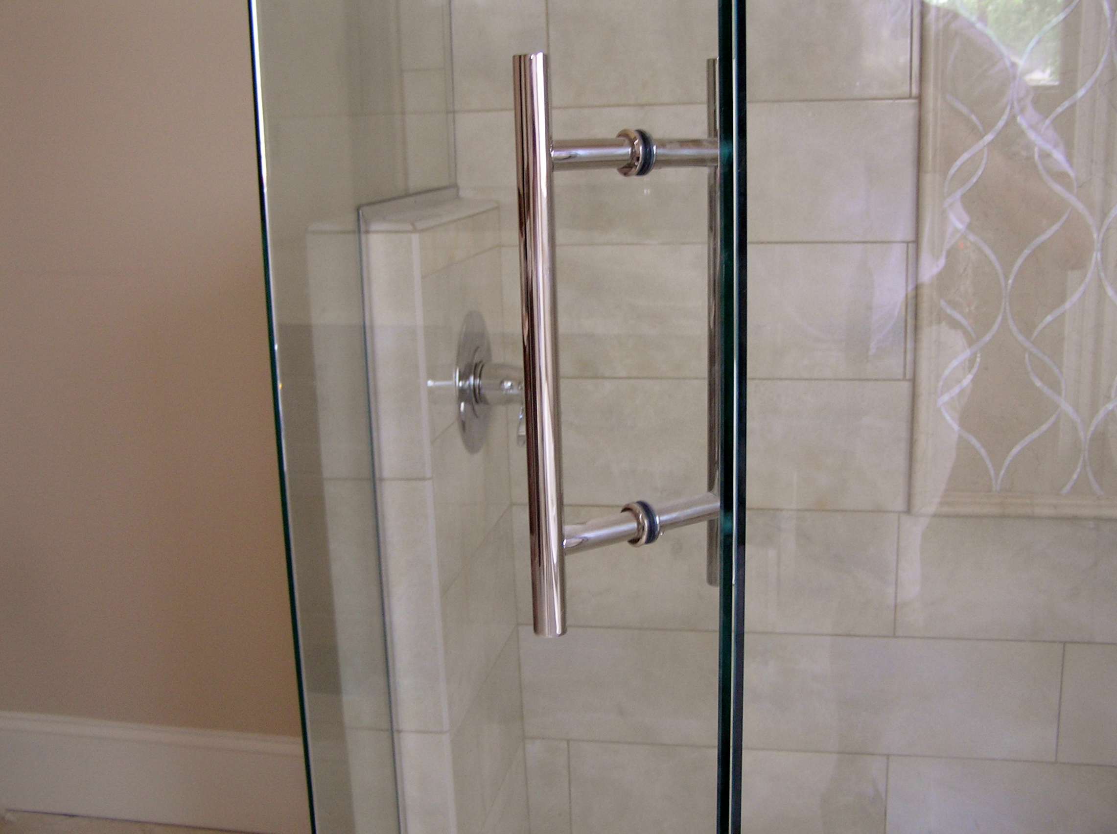 custom door pull for frameless shower enclosures - Glass Shower Door Hardware