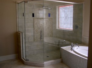 Glass to glass frameless shower with custom handle